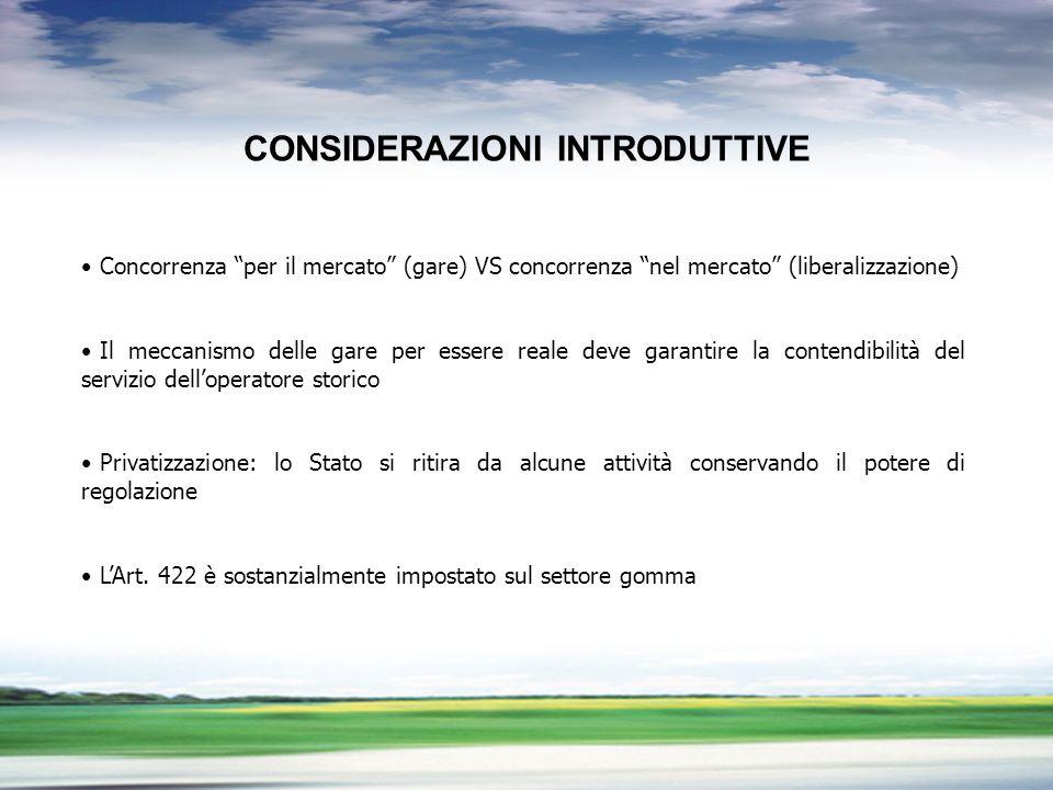 PROFILO DEL GRUPPO CONSIDERAZIONI INTRODUTTIVE Concorrenza per il mercato (gare) VS concorrenza nel mercato (liberalizzazione) Il meccanismo delle gar