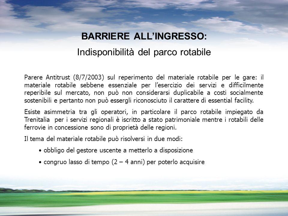PROFILO DEL GRUPPO GRUPPO FNM LA LIBERALIZZAZIONE DEL TRASPORTO PUBBLICO LOCALE BARRIERE ALLINGRESSO Parere Antitrust (8/7/2003) sul reperimento del m