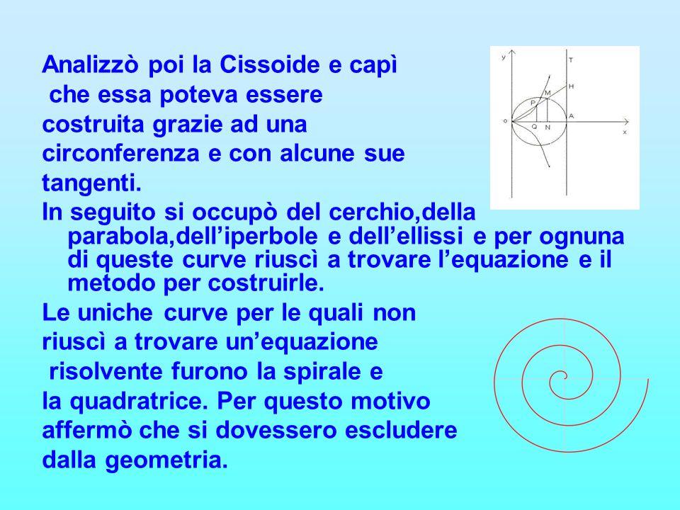 Analizzò poi la Cissoide e capì che essa poteva essere costruita grazie ad una circonferenza e con alcune sue tangenti. In seguito si occupò del cerch