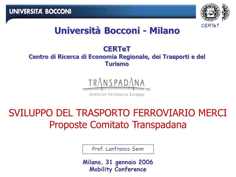 CERTeT SVILUPPO DEL TRASPORTO FERROVIARIO MERCI Proposte Comitato Transpadana Milano, 31 gennaio 2006 Mobility Conference Prof.