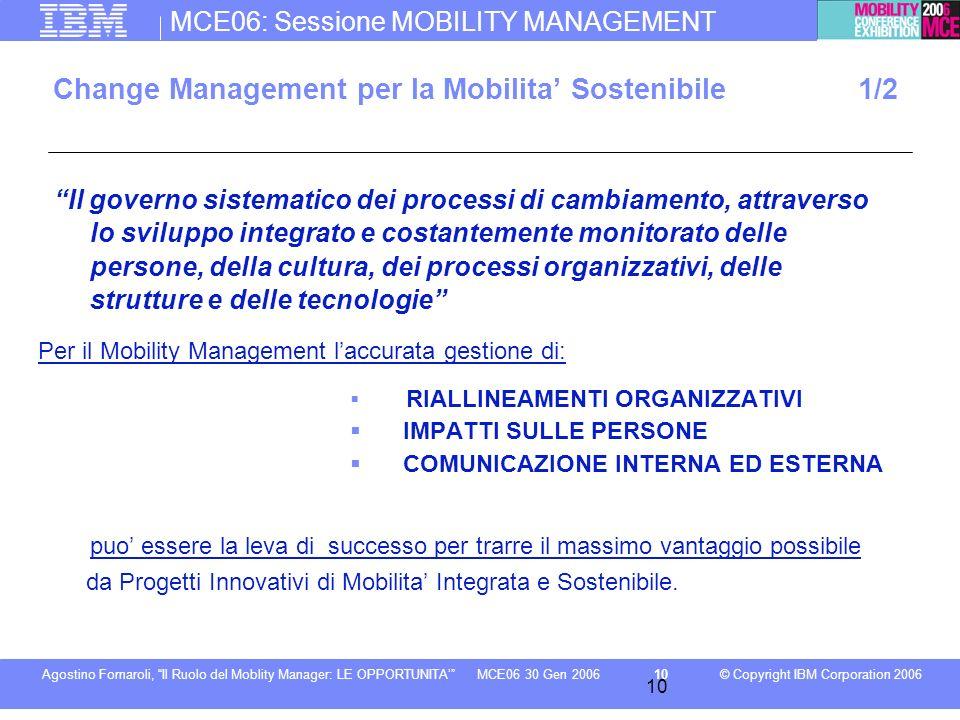 MCE06: Sessione MOBILITY MANAGEMENT © Copyright IBM Corporation 2006Agostino Fornaroli, Il Ruolo del Moblity Manager: LE OPPORTUNITA10MCE06 30 Gen 200