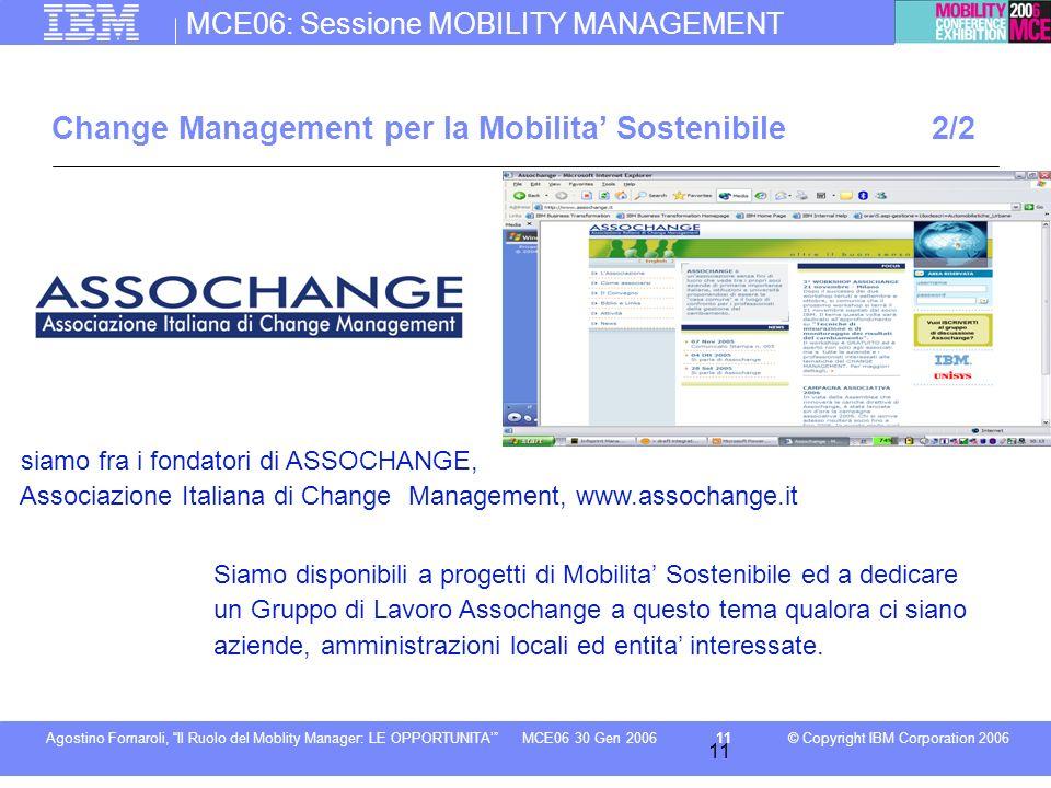 MCE06: Sessione MOBILITY MANAGEMENT © Copyright IBM Corporation 2006Agostino Fornaroli, Il Ruolo del Moblity Manager: LE OPPORTUNITA11MCE06 30 Gen 200