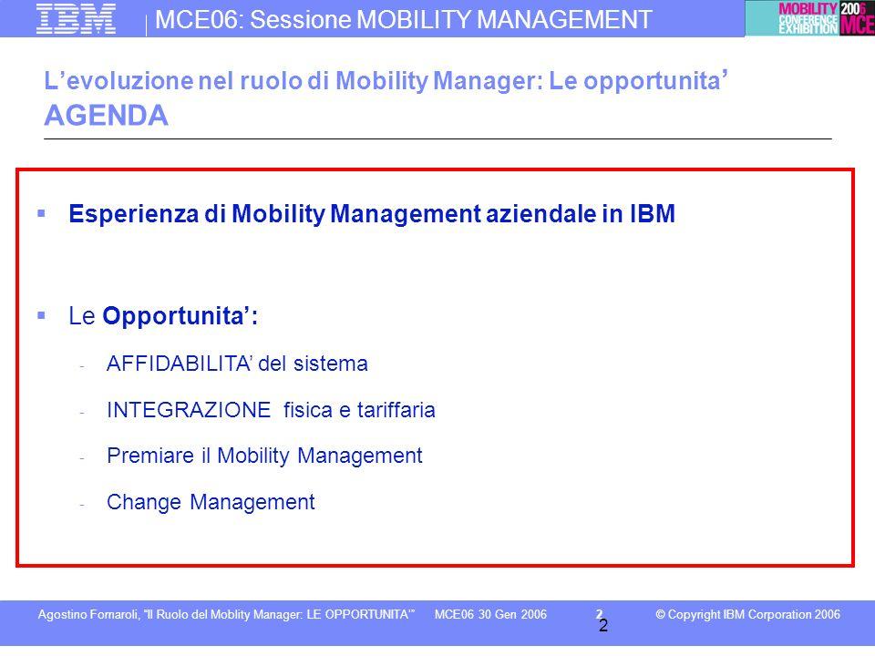MCE06: Sessione MOBILITY MANAGEMENT © Copyright IBM Corporation 2006Agostino Fornaroli, Il Ruolo del Moblity Manager: LE OPPORTUNITA2MCE06 30 Gen 2006