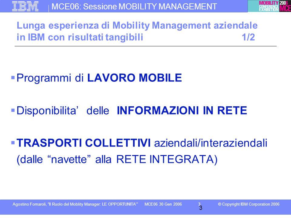 MCE06: Sessione MOBILITY MANAGEMENT © Copyright IBM Corporation 2006Agostino Fornaroli, Il Ruolo del Moblity Manager: LE OPPORTUNITA3MCE06 30 Gen 2006