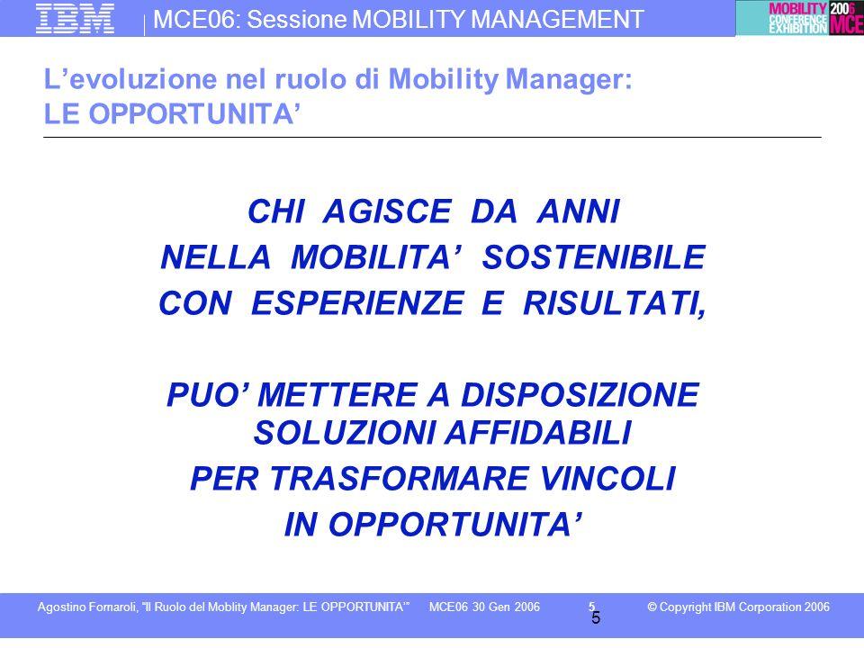 MCE06: Sessione MOBILITY MANAGEMENT © Copyright IBM Corporation 2006Agostino Fornaroli, Il Ruolo del Moblity Manager: LE OPPORTUNITA6MCE06 30 Gen 2006 6 Levoluzione nel ruolo di Mobility Manager: LE OPPORTUNITA AFFIDABILITA del sistema INTEGRAZIONE in tempi, luoghi e tariffe PREMIARE il Mobility Management CHANGE Management