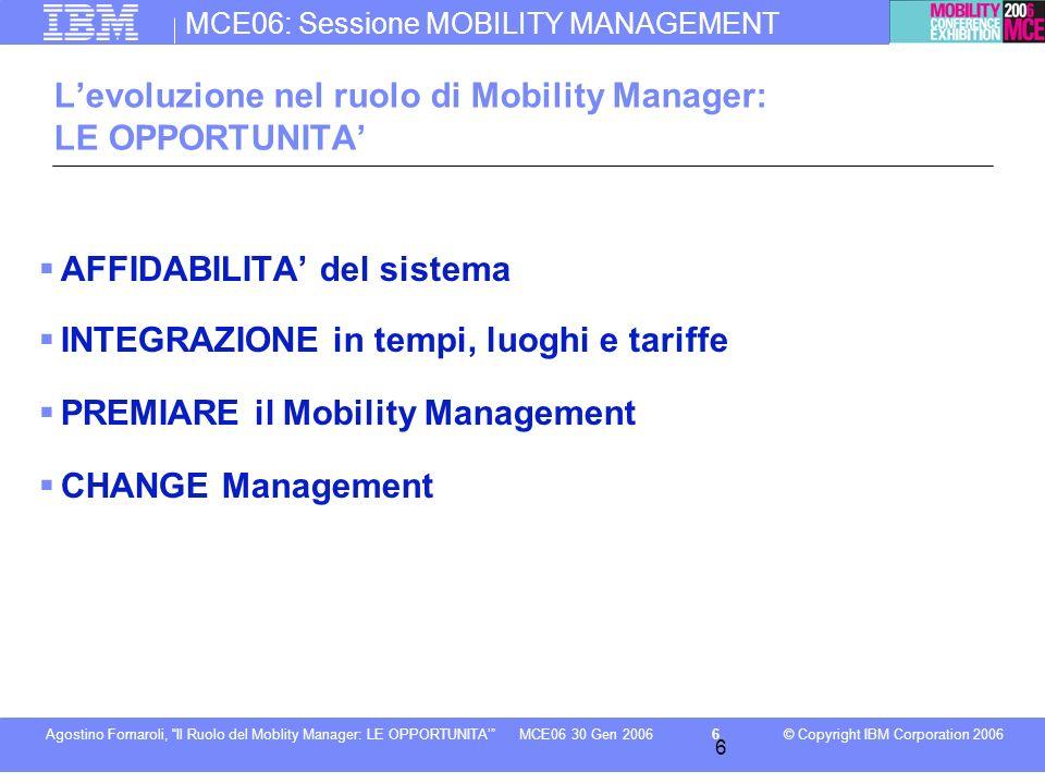 MCE06: Sessione MOBILITY MANAGEMENT © Copyright IBM Corporation 2006Agostino Fornaroli, Il Ruolo del Moblity Manager: LE OPPORTUNITA7MCE06 30 Gen 2006 7 AFFIDABILITA del sistema di trasporto EVENTI IMPROVVISI .