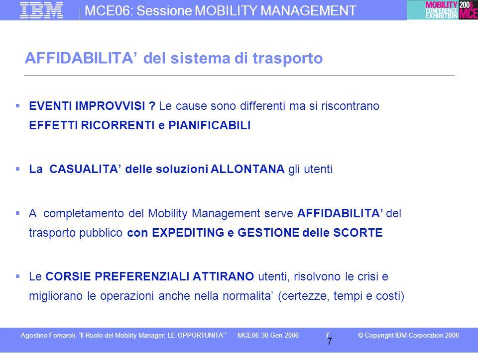 MCE06: Sessione MOBILITY MANAGEMENT © Copyright IBM Corporation 2006Agostino Fornaroli, Il Ruolo del Moblity Manager: LE OPPORTUNITA7MCE06 30 Gen 2006