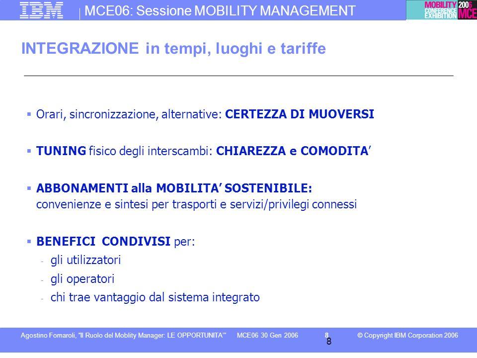 MCE06: Sessione MOBILITY MANAGEMENT © Copyright IBM Corporation 2006Agostino Fornaroli, Il Ruolo del Moblity Manager: LE OPPORTUNITA8MCE06 30 Gen 2006