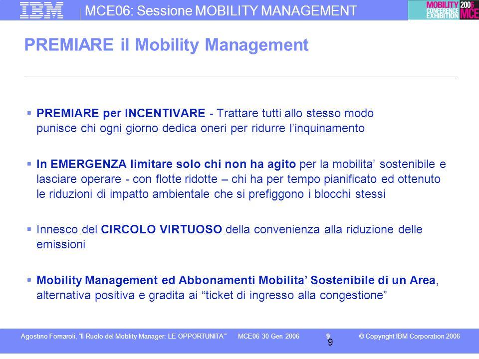 MCE06: Sessione MOBILITY MANAGEMENT © Copyright IBM Corporation 2006Agostino Fornaroli, Il Ruolo del Moblity Manager: LE OPPORTUNITA9MCE06 30 Gen 2006