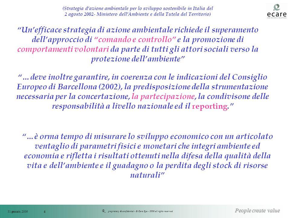 © People create value 31 gennaio, 2006 proprietary & confidential - E-Care Spa - 2006 all rights reserved 4 (Strategia dazione ambientale per lo svilu
