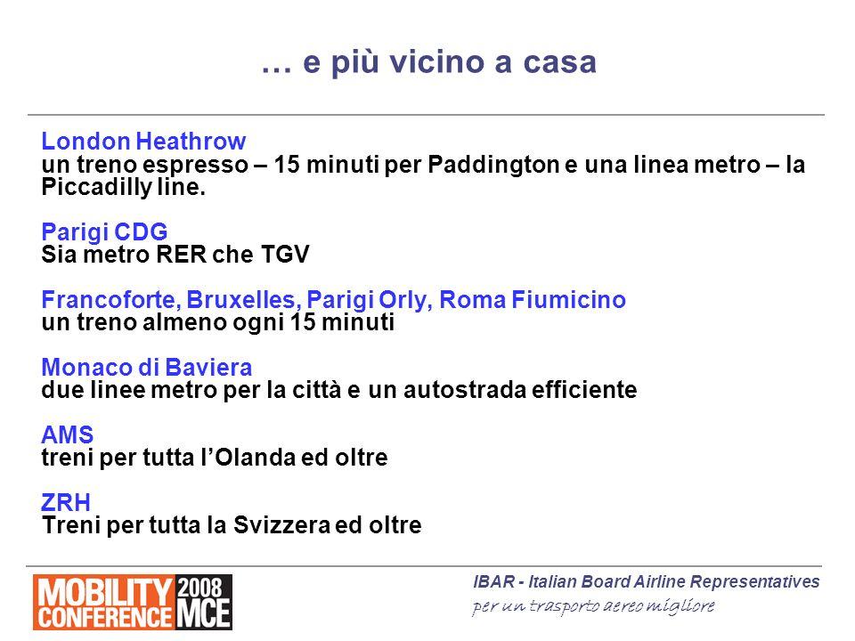 IBAR - Italian Board Airline Representatives per un trasporto aereo migliore … e più vicino a casa London Heathrow un treno espresso – 15 minuti per P