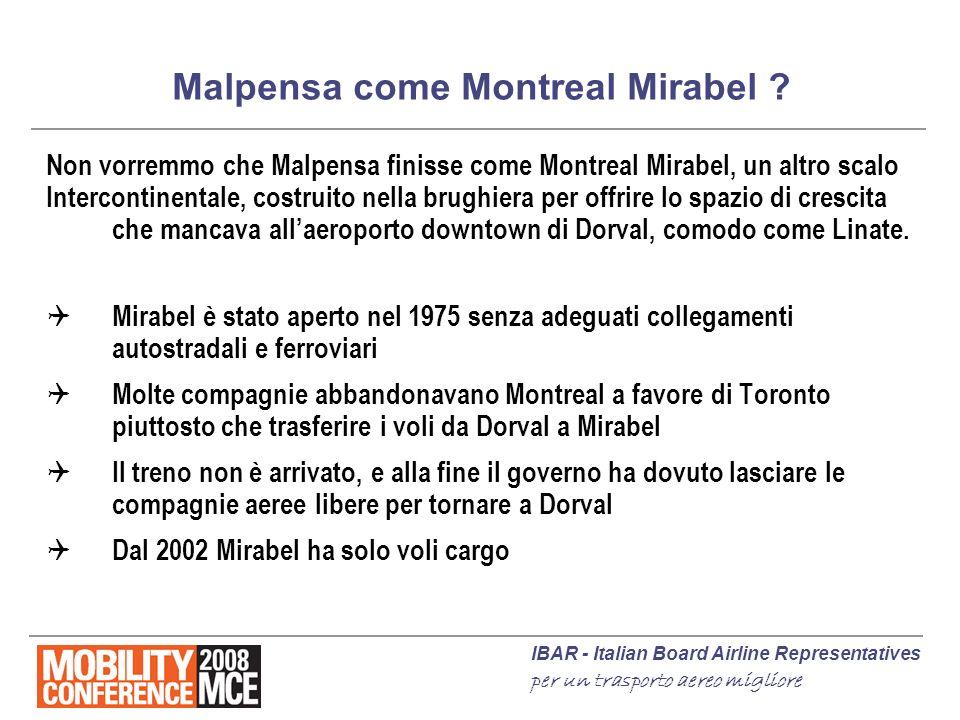 IBAR - Italian Board Airline Representatives per un trasporto aereo migliore Malpensa come Montreal Mirabel ? Non vorremmo che Malpensa finisse come M