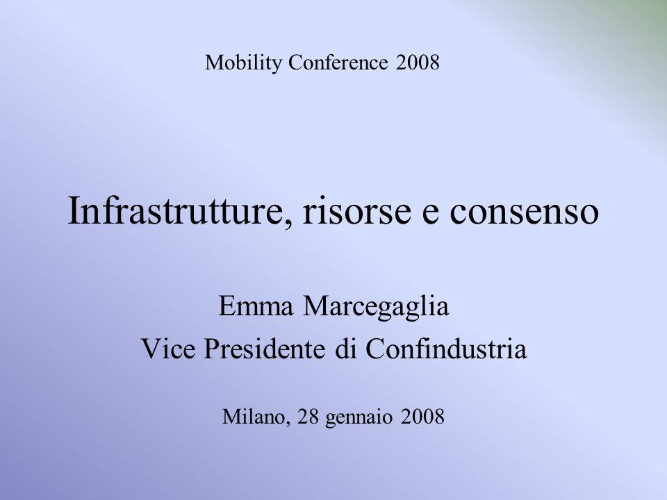 Infrastrutture, risorse e consenso Emma Marcegaglia Vice Presidente di Confindustria Milano, 28 gennaio 2008 Mobility Conference 2008