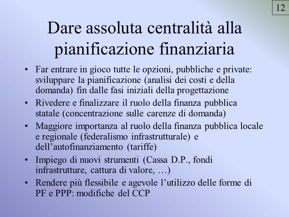 Dare assoluta centralità alla pianificazione finanziaria Far entrare in gioco tutte le opzioni, pubbliche e private: sviluppare la pianificazione (ana