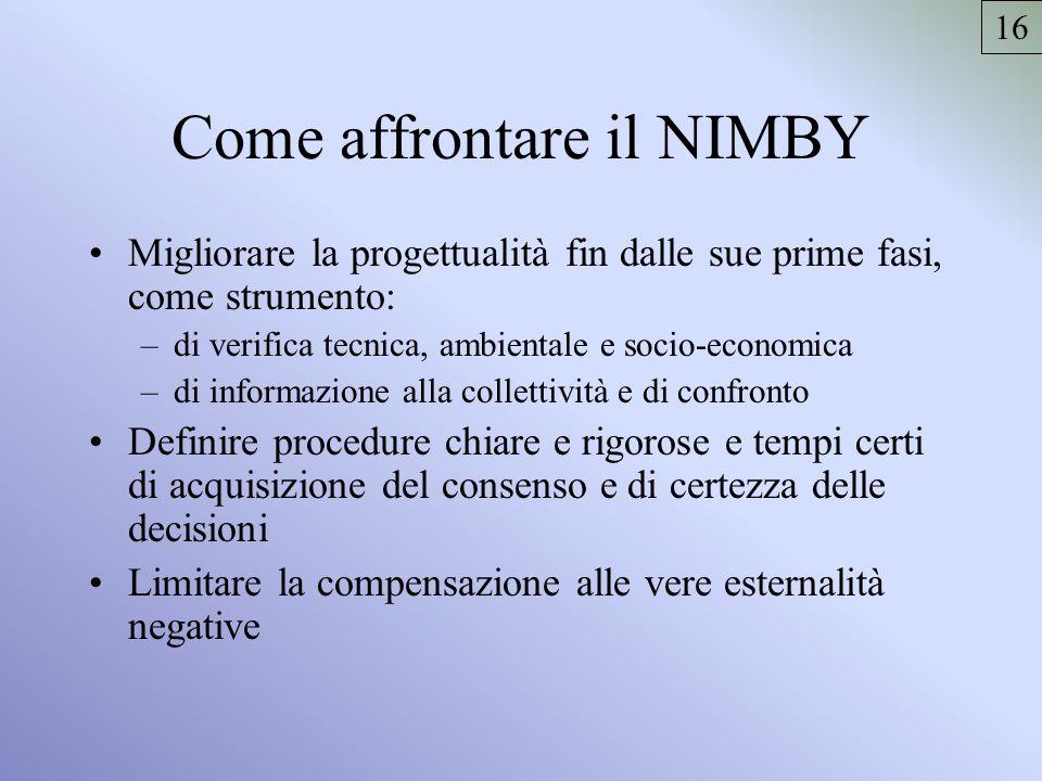 Come affrontare il NIMBY Migliorare la progettualità fin dalle sue prime fasi, come strumento: –di verifica tecnica, ambientale e socio-economica –di