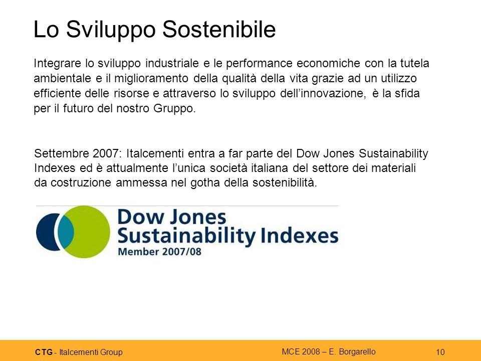 CTG - Italcementi Group MCE 2008 – E. Borgarello 10 Lo Sviluppo Sostenibile Integrare lo sviluppo industriale e le performance economiche con la tutel