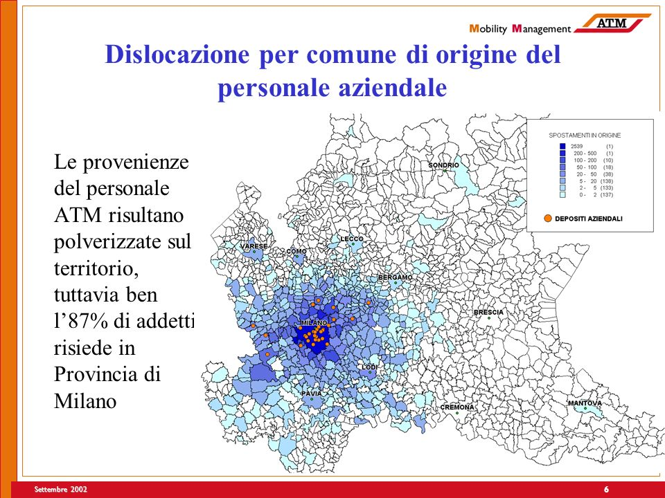 Settembre 2002 6 Dislocazione per comune di origine del personale aziendale Le provenienze del personale ATM risultano polverizzate sul territorio, tuttavia ben l87% di addetti risiede in Provincia di Milano