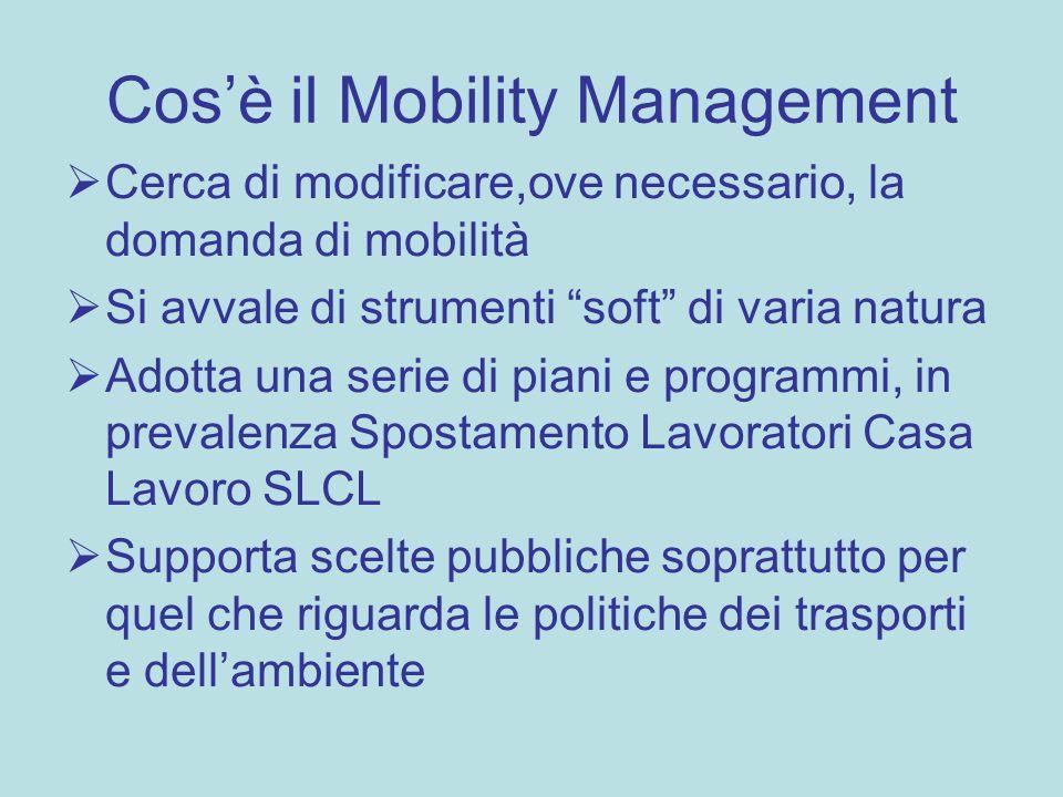 Cosè il Mobility Management Cerca di modificare,ove necessario, la domanda di mobilità Si avvale di strumenti soft di varia natura Adotta una serie di piani e programmi, in prevalenza Spostamento Lavoratori Casa Lavoro SLCL Supporta scelte pubbliche soprattutto per quel che riguarda le politiche dei trasporti e dellambiente