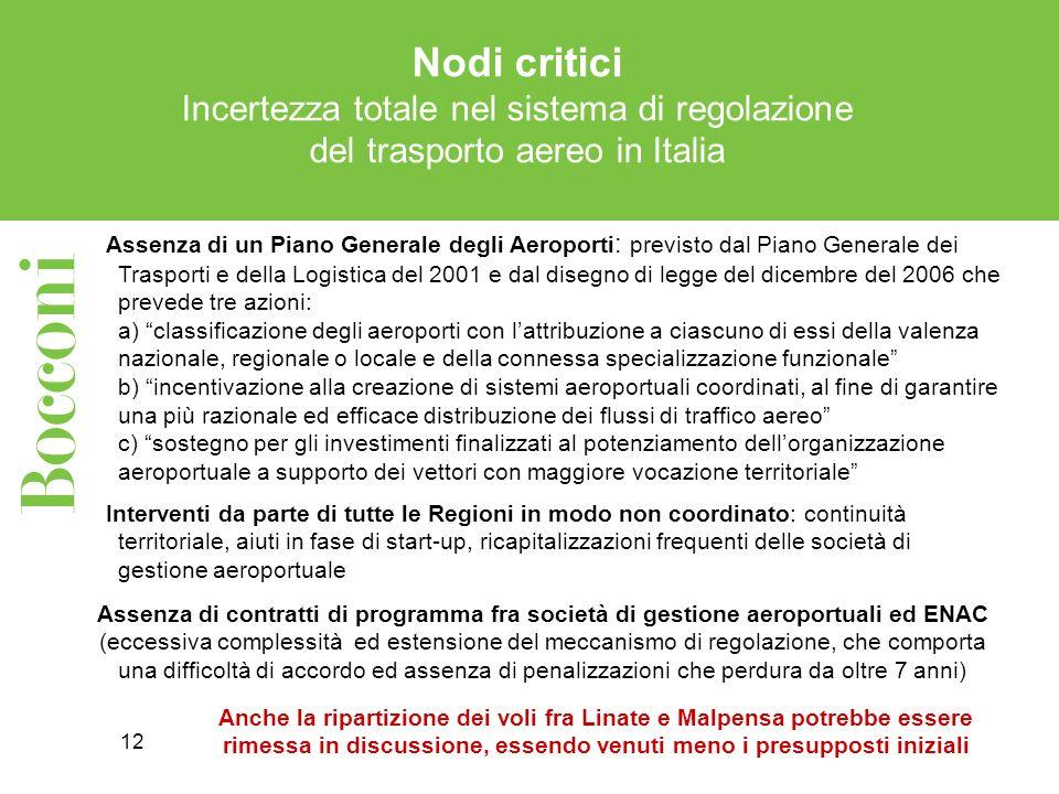 12 Nodi critici Incertezza totale nel sistema di regolazione del trasporto aereo in Italia Assenza di un Piano Generale degli Aeroporti : previsto dal