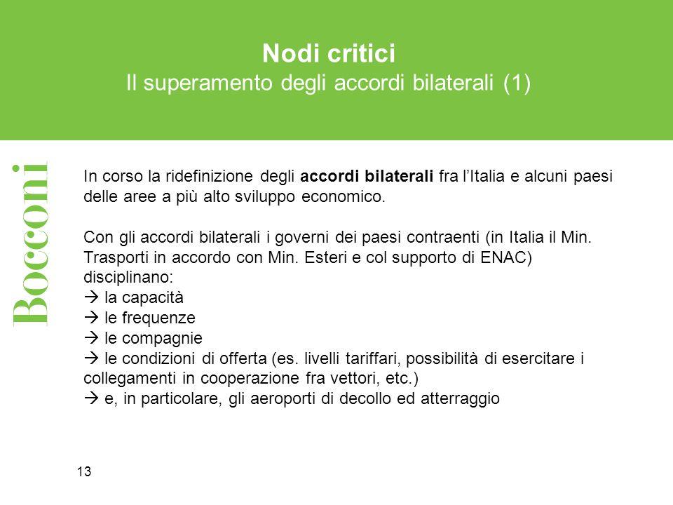 13 Nodi critici Il superamento degli accordi bilaterali (1) In corso la ridefinizione degli accordi bilaterali fra lItalia e alcuni paesi delle aree a