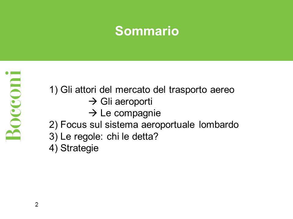 2 1) Gli attori del mercato del trasporto aereo Gli aeroporti Le compagnie 2) Focus sul sistema aeroportuale lombardo 3) Le regole: chi le detta? 4) S