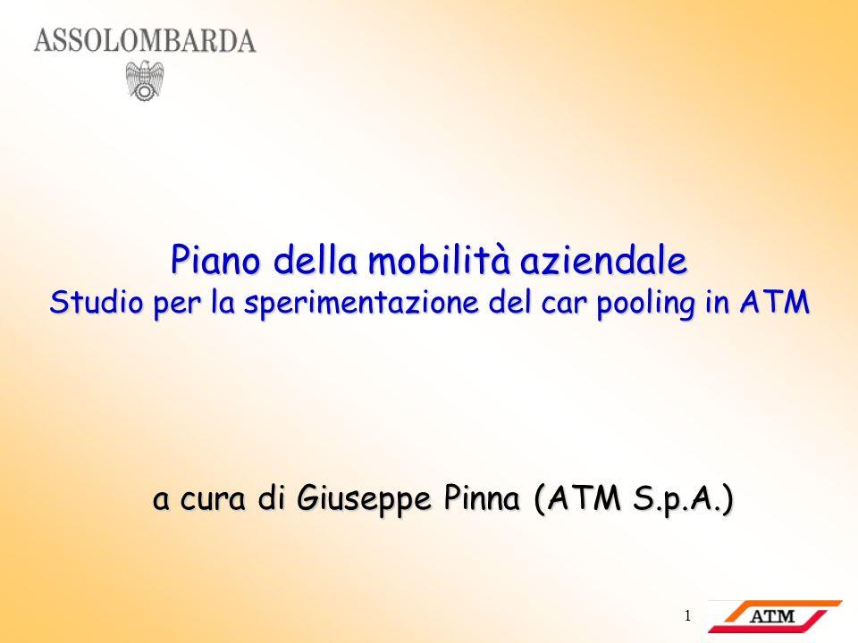 1 Piano della mobilità aziendale Studio per la sperimentazione del car pooling in ATM a cura di Giuseppe Pinna (ATM S.p.A.)