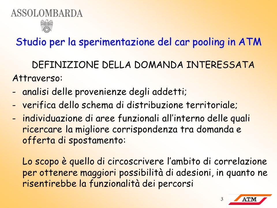 3 Studio per la sperimentazione del car pooling in ATM DEFINIZIONE DELLA DOMANDA INTERESSATA Attraverso: -analisi delle provenienze degli addetti; -ve