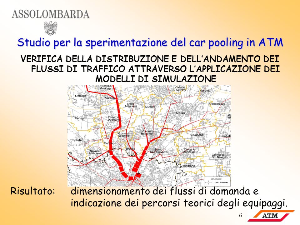 6 Studio per la sperimentazione del car pooling in ATM VERIFICA DELLA DISTRIBUZIONE E DELLANDAMENTO DEI FLUSSI DI TRAFFICO ATTRAVERSO LAPPLICAZIONE DE