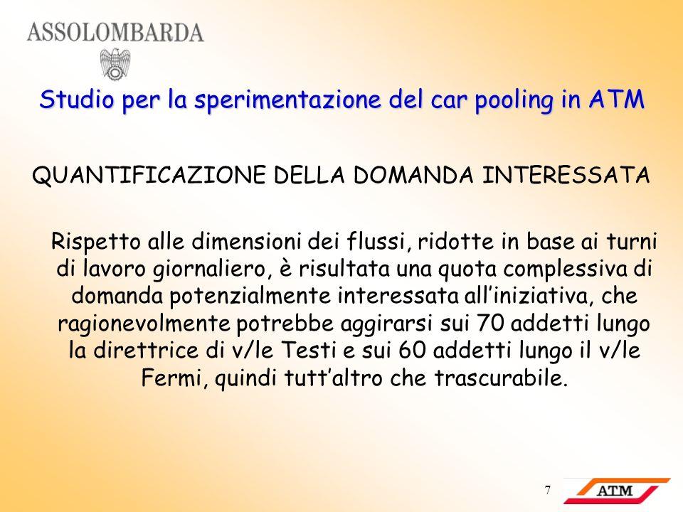 7 Studio per la sperimentazione del car pooling in ATM QUANTIFICAZIONE DELLA DOMANDA INTERESSATA Rispetto alle dimensioni dei flussi, ridotte in base