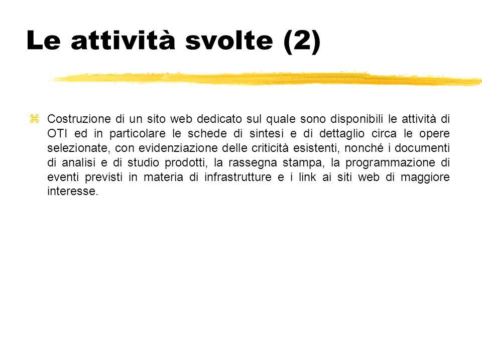 Le attività svolte (2) zCostruzione di un sito web dedicato sul quale sono disponibili le attività di OTI ed in particolare le schede di sintesi e di