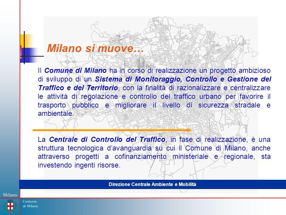 Milano si muove… Il Comune di Milano ha in corso di realizzazione un progetto ambizioso di sviluppo di un Sistema di Monitoraggio, Controllo e Gestione del Traffico e del Territorio, con la finalità di razionalizzare e centralizzare le attività di regolazione e controllo del traffico urbano per favorire il trasporto pubblico e migliorare il livello di sicurezza stradale e ambientale.