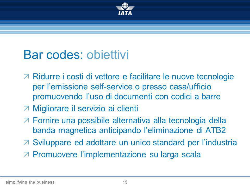 simplifying the business15 Bar codes: obiettivi Ridurre i costi di vettore e facilitare le nuove tecnologie per lemissione self-service o presso casa/