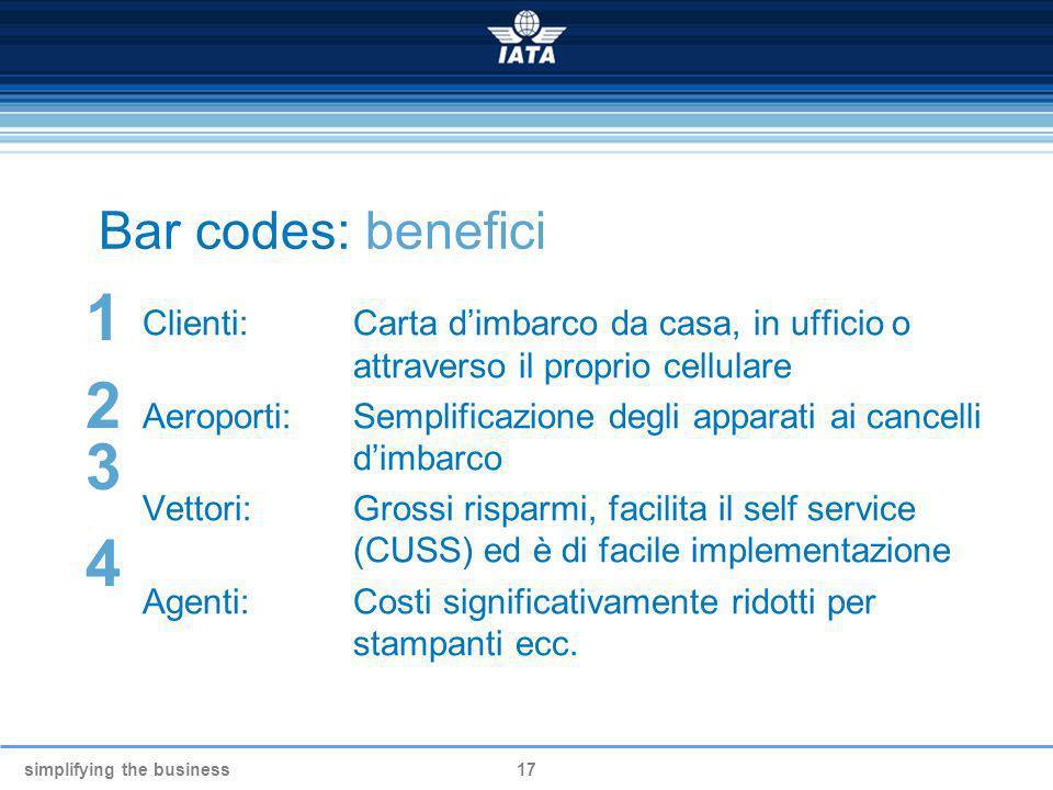 simplifying the business17 Bar codes: benefici Clienti: Carta dimbarco da casa, in ufficio o attraverso il proprio cellulare Aeroporti: Semplificazion
