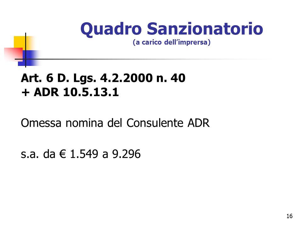 16 Quadro Sanzionatorio (a carico dellimprersa) Art. 6 D. Lgs. 4.2.2000 n. 40 + ADR 10.5.13.1 Omessa nomina del Consulente ADR s.a. da 1.549 a 9.296