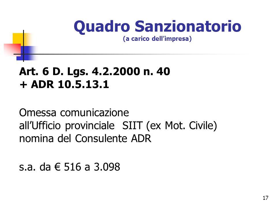 17 Quadro Sanzionatorio (a carico dellimpresa) Art. 6 D. Lgs. 4.2.2000 n. 40 + ADR 10.5.13.1 Omessa comunicazione allUfficio provinciale SIIT (ex Mot.