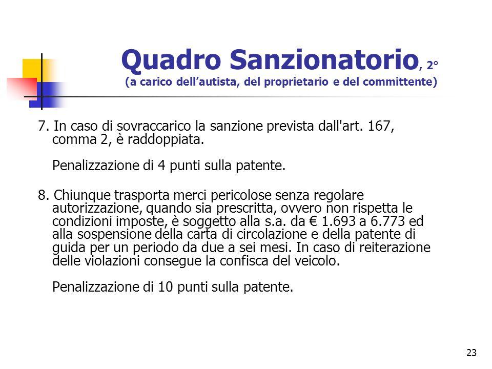 23 Quadro Sanzionatorio, 2° (a carico dellautista, del proprietario e del committente) 7. In caso di sovraccarico la sanzione prevista dall'art. 167,