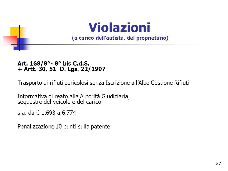 27 Art. 168/8°- 8° bis C.d.S. + Artt. 30, 51 D. Lgs. 22/1997 Trasporto di rifiuti pericolosi senza Iscrizione allAlbo Gestione Rifiuti Informativa di
