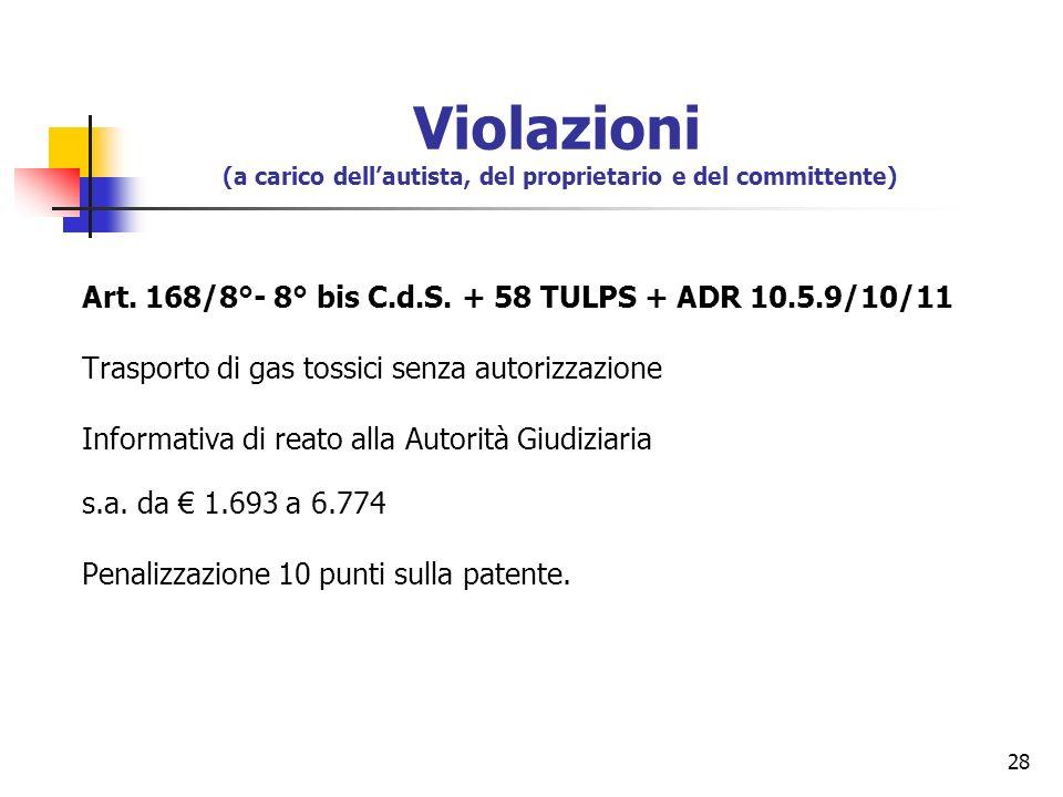 28 Art. 168/8°- 8° bis C.d.S. + 58 TULPS + ADR 10.5.9/10/11 Trasporto di gas tossici senza autorizzazione Informativa di reato alla Autorità Giudiziar