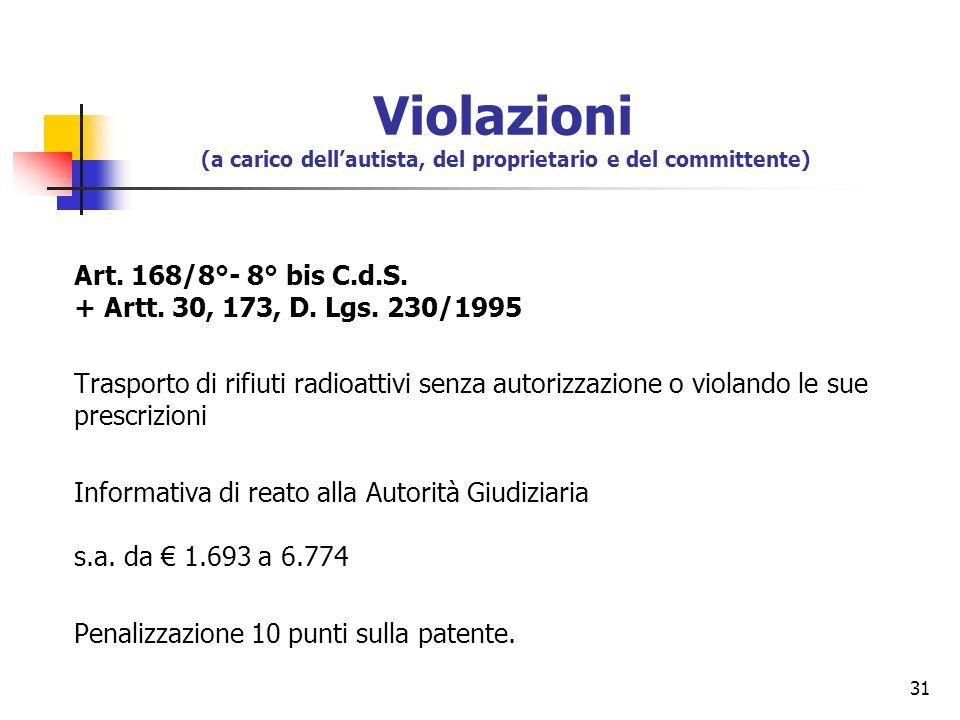 31 Art. 168/8°- 8° bis C.d.S. + Artt. 30, 173, D. Lgs. 230/1995 Trasporto di rifiuti radioattivi senza autorizzazione o violando le sue prescrizioni I