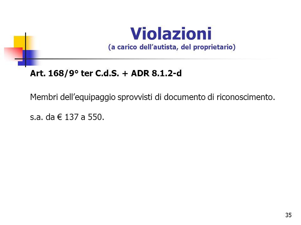 35 Violazioni (a carico dellautista, del proprietario) Art. 168/9° ter C.d.S. + ADR 8.1.2-d Membri dellequipaggio sprovvisti di documento di riconosci