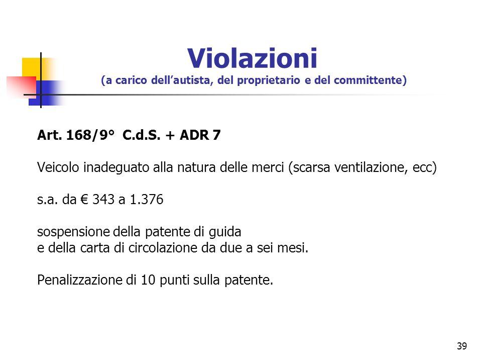 39 Art. 168/9° C.d.S. + ADR 7 Veicolo inadeguato alla natura delle merci (scarsa ventilazione, ecc) s.a. da 343 a 1.376 sospensione della patente di g