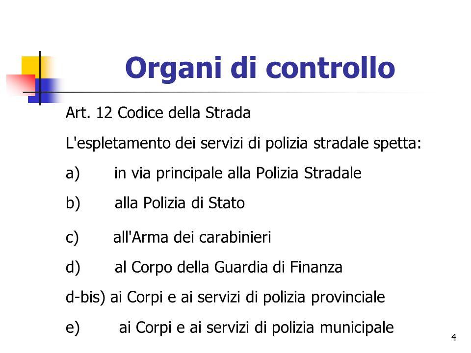 4 Organi di controllo Art. 12 Codice della Strada L'espletamento dei servizi di polizia stradale spetta: a) in via principale alla Polizia Stradale b)