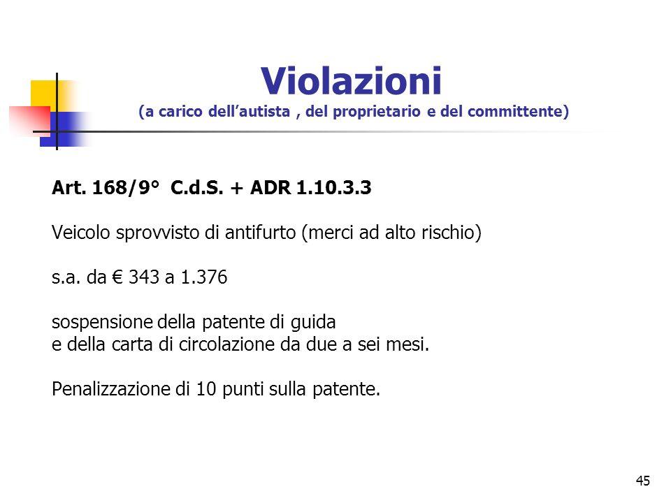 45 Art. 168/9° C.d.S. + ADR 1.10.3.3 Veicolo sprovvisto di antifurto (merci ad alto rischio) s.a. da 343 a 1.376 sospensione della patente di guida e