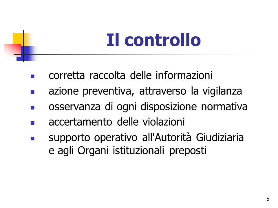 5 Il controllo corretta raccolta delle informazioni azione preventiva, attraverso la vigilanza osservanza di ogni disposizione normativa accertamento