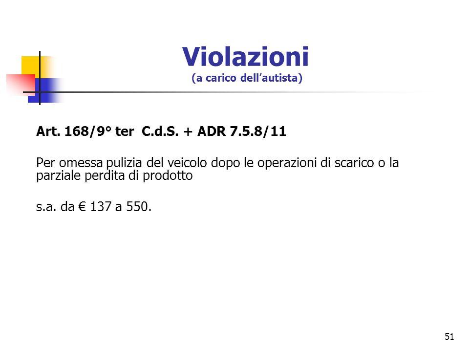 51 Art. 168/9° ter C.d.S. + ADR 7.5.8/11 Per omessa pulizia del veicolo dopo le operazioni di scarico o la parziale perdita di prodotto s.a. da 137 a