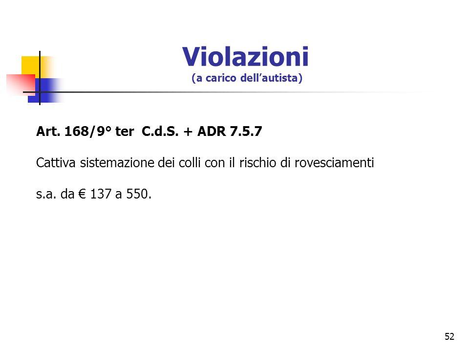52 Art. 168/9° ter C.d.S. + ADR 7.5.7 Cattiva sistemazione dei colli con il rischio di rovesciamenti s.a. da 137 a 550. Violazioni (a carico dellautis