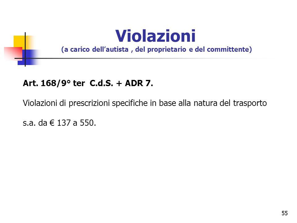 55 Art. 168/9° ter C.d.S. + ADR 7. Violazioni di prescrizioni specifiche in base alla natura del trasporto s.a. da 137 a 550. Violazioni (a carico del