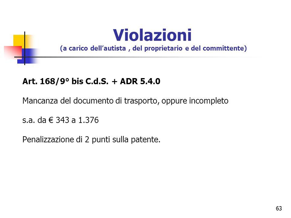63 Art. 168/9° bis C.d.S. + ADR 5.4.0 Mancanza del documento di trasporto, oppure incompleto s.a. da 343 a 1.376 Penalizzazione di 2 punti sulla paten