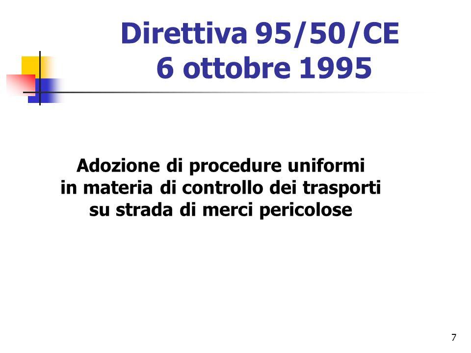 7 Direttiva 95/50/CE 6 ottobre 1995 Adozione di procedure uniformi in materia di controllo dei trasporti su strada di merci pericolose