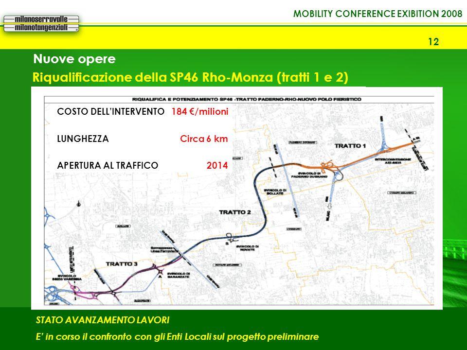 12 Riqualificazione della SP46 Rho-Monza (tratti 1 e 2) STATO AVANZAMENTO LAVORI E in corso il confronto con gli Enti Locali sul progetto preliminare COSTO DELLINTERVENTO LUNGHEZZA APERTURA AL TRAFFICO 184 /milioni Circa 6 km 2014 Nuove opere
